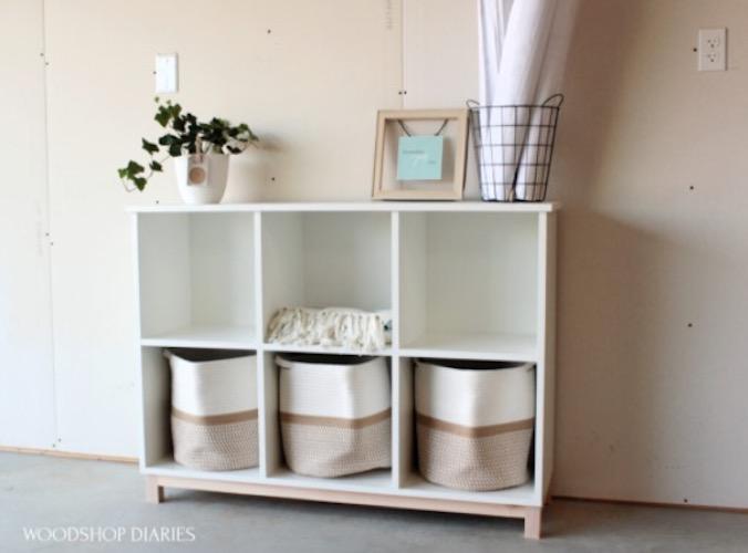 Build this Shelf Unit For Basket Storage using free plans.