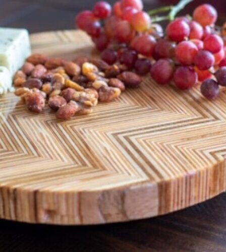 Build a Lazy Susan From Patterned Plywood using free plans.