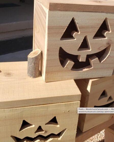 Build a few Box Jack-O-Lanterns using free plans.